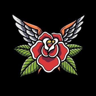Hand drawn winged rose