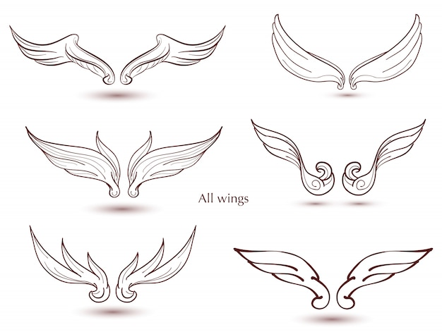 Hand drawn wings set. vector doodle winged for decorate