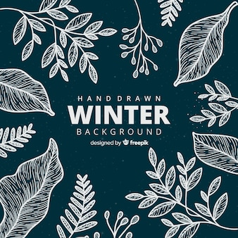 Hand drawn winter background with floral style