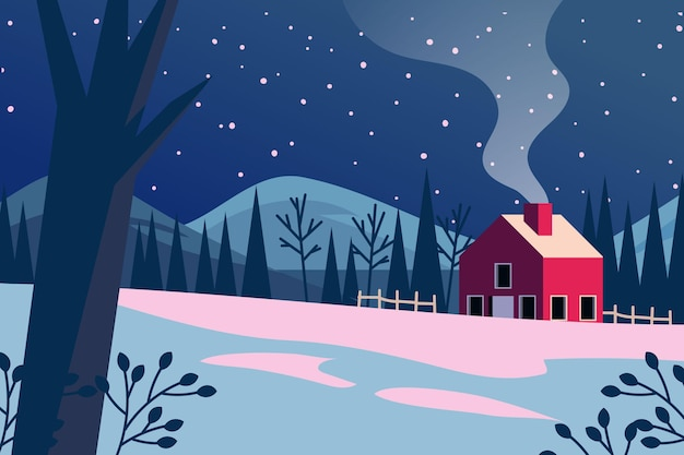 Hand drawn winter background with house