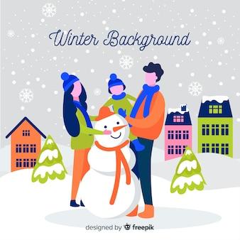 Hand drawn winter background