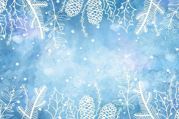 手描きの冬の背景 Premiumベクター
