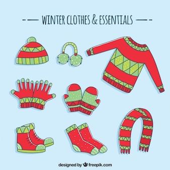 Inverno disegnato a mano collezione di abbigliamento di base