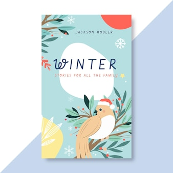 Hand-drawn winter book cover template