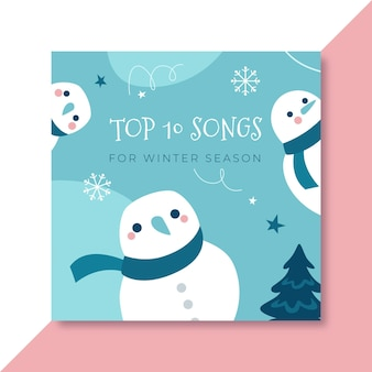 Hand drawn winter cd cover template