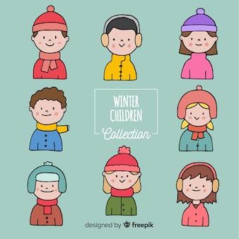 Hand drawn winter children collection
