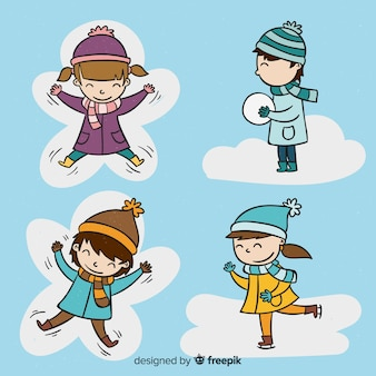 Hand drawn winter children collection