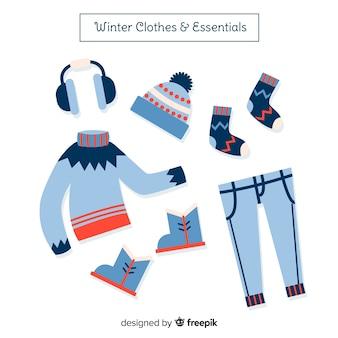 Ручная зимняя одежда и предметы первой необходимости Бесплатные векторы