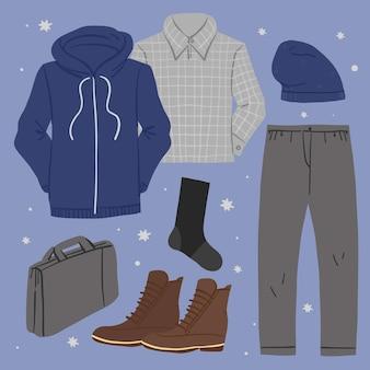 手描きの冬服と必需品のコレクション