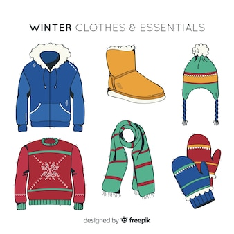 Hand drawn winter clothes and essentials