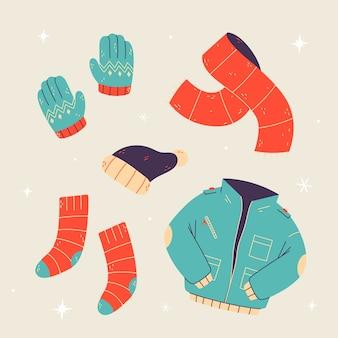 손으로 그린 겨울 옷 및 필수품