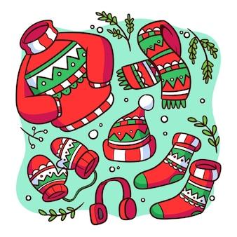 Рисованная зимняя одежда и предметы первой необходимости