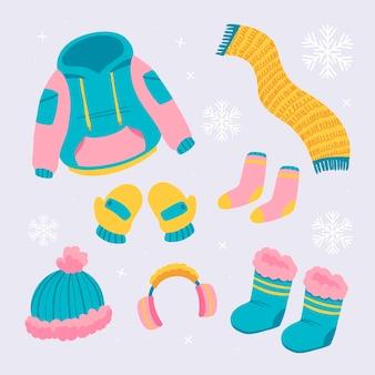 手描きの冬服と必需品