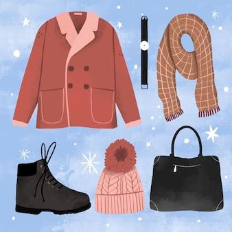 손으로 그린 겨울 옷과 필수품