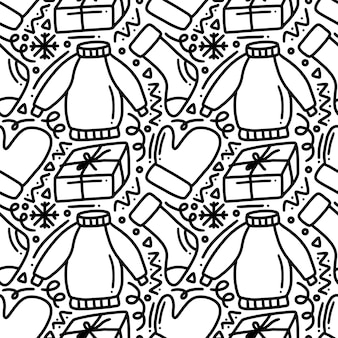 Hand drawn winter clothes collection doodle pattern of set with icons and design elements