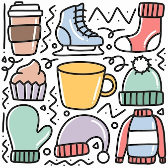 Hand drawn winter clothes collection doodle set with icons and design elements