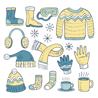 Hand drawn winter clothes & essentials set