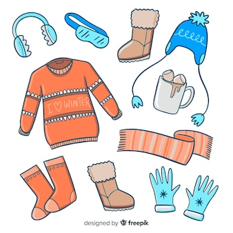 Hand drawn winter clothes & essentials