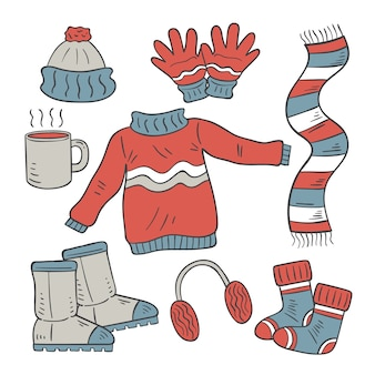 Hand drawn winter clothes & essentials