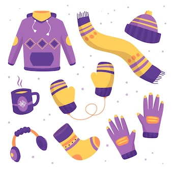 Hand-drawn winter clothes and essentials