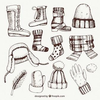 Disegnati a mano abiti invernali pacchetto