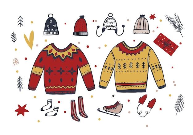 スカンジスタイルで設定された手描きの冬服ベクトル