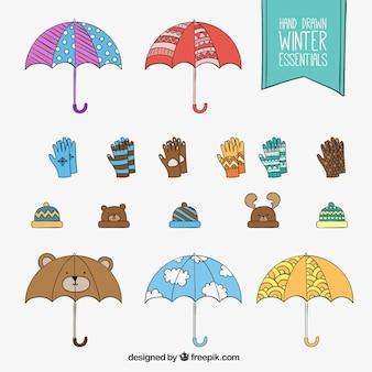 Disegnati a mano abiti invernali