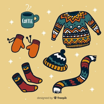 Hand drawn winter clothes