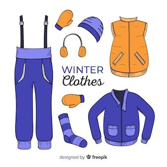 Ручная зимняя одежда Бесплатные векторы