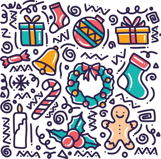 Hand drawn winter collection doodle set with icons and design elements