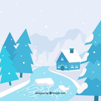 Рисованный зимний дизайн с рекой