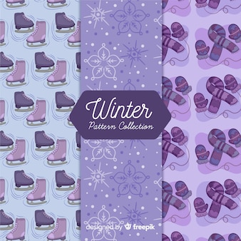 Hand drawn winter elements pattern collection