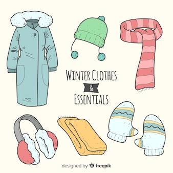 Collezione di elementi essenziali invernali disegnata a mano