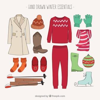 Essenziali invernali disegnati a mano