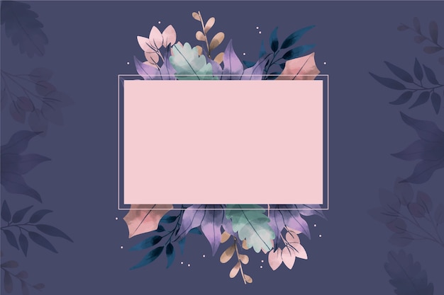 Hand drawn winter flowers background with empty badge