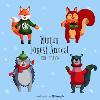 Hand drawn winter forest animal collection