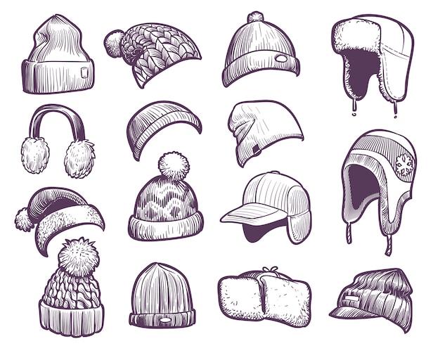 手描きの冬の帽子。ポンポンとイヤーフラップ付きのさまざまなニット帽のセット、フィッシャーマンビーニー、スポーツキャップの帽子のスケッチ暖かいクリスマスの毛皮のヘッドフォンとキャップのセット