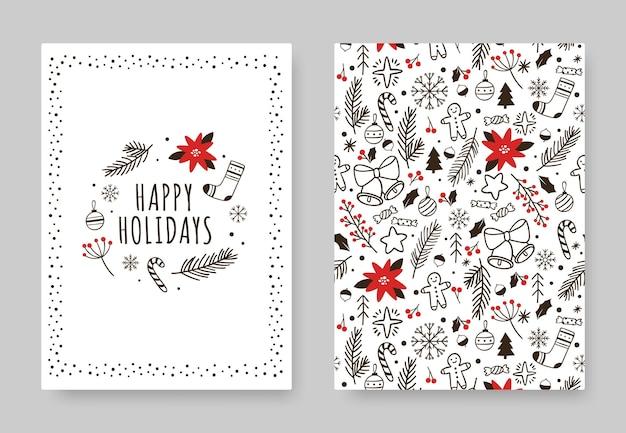 Рисованной карты зимних праздников. рождественское украшение рисунок старинный плакат баннер на пригласительных билетах с рисунком и рождественскими элементами иллюстрации