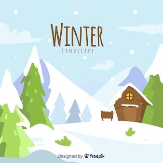 Sfondo di paesaggio invernale disegnato a mano