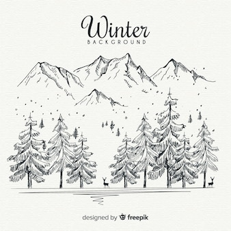 Hand drawn winter landscape background
