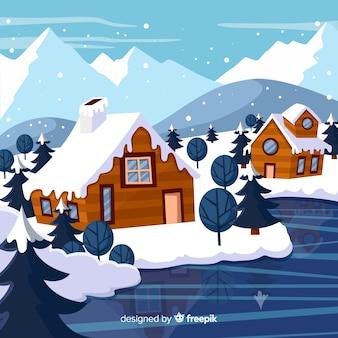 Hand drawn winter landscape background