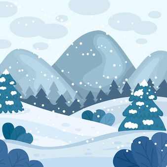 Hand drawn winter landscape with snow