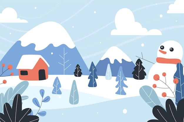 Hand drawn winter landscape with snowman