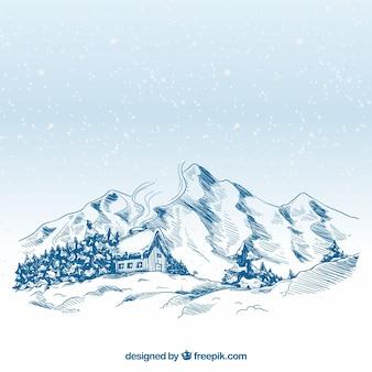 Ручной зимний пейзаж