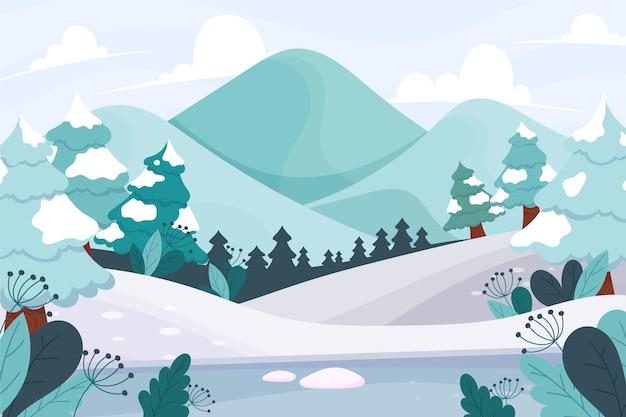 Hand drawn winter landscape