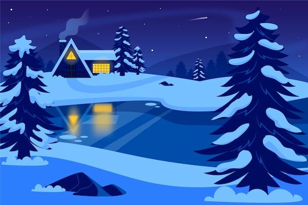 손으로 그린 된 겨울 풍경