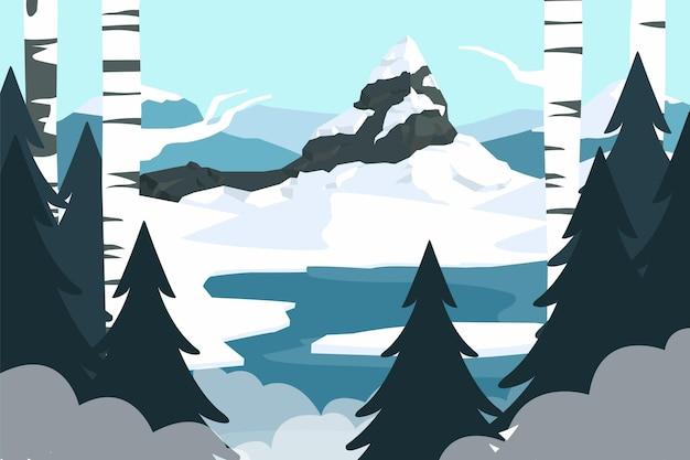 手描きの冬の風景