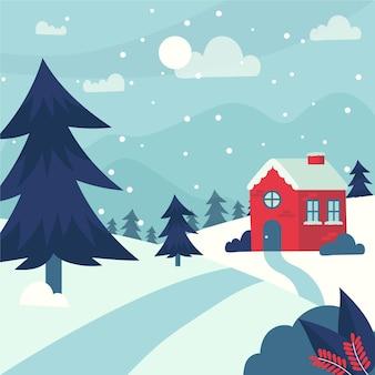 Ручной обращается зимний пейзаж