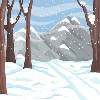 Hand drawn winter landscape