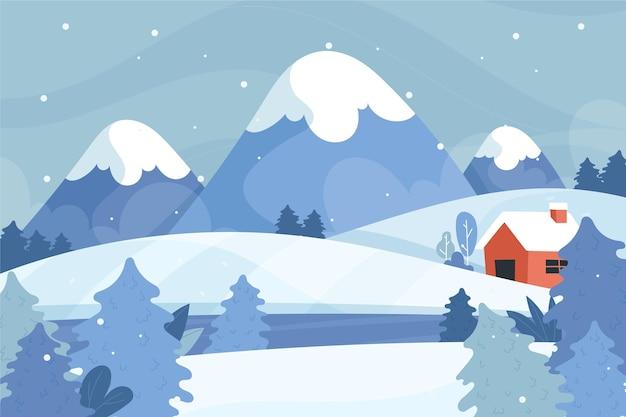 손으로 그린 겨울 풍경